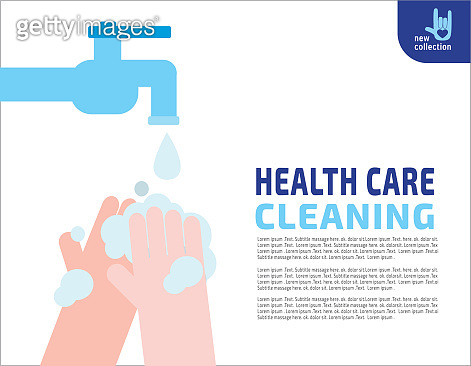Close up. Washing hands. Hygiene. Medical healthcare concept. Vector flat cartoon design illustration. Isolated on background.