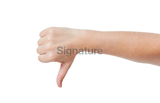 'Thumbs down' hand sign against white