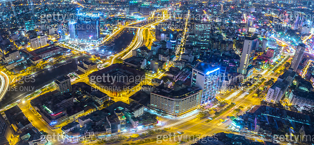 Aerial night view of colorful and vibrant cityscape