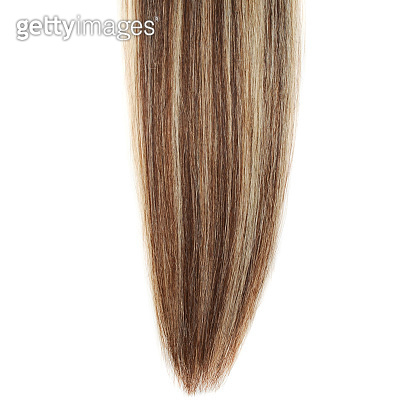 Clip in  straight brown mixed with blond human hair extensions