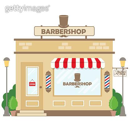 Street building facade barbershop