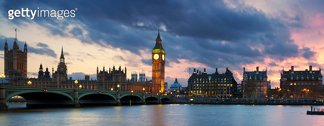 Big Ben clock tower in London at sunset