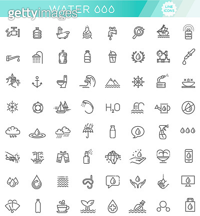 Water icon set in thin line style. Vector symbol.