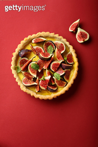 French tart with figs and honey, food above