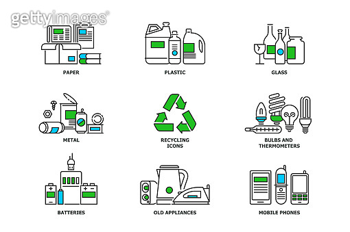 Set of recycling icons in line design. Recycle vector flat illustrations. Waste paper, metal, plastic, glass, bulbs, e-waste, mobiles and appliances icons isolated on while background stock vector