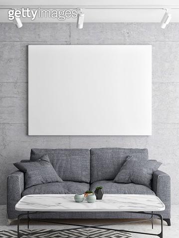 Mock up poster, close up living room