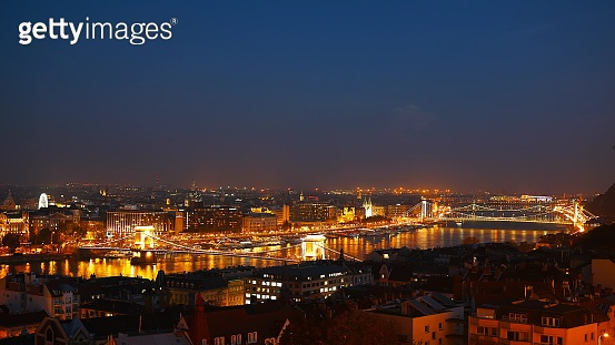 Night Budapest with the Danube and Chain Bridge, Hungary. Aerial view of Budapest. Hungary.