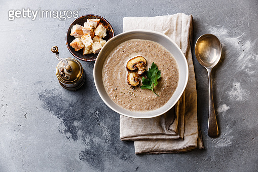 Mushroom soup with crouton