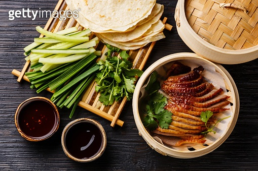 Peking Duck with cucumber, onions, cilantro and pancakes