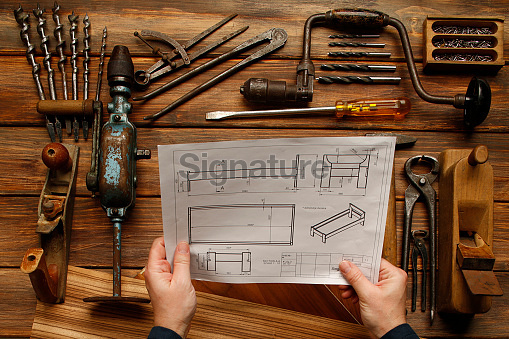 Work Tool  DIY  Vintage carpenter tools on rustic wooden table, Hand Tool