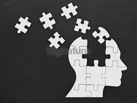 Puzzle head silhouette mind brain memory