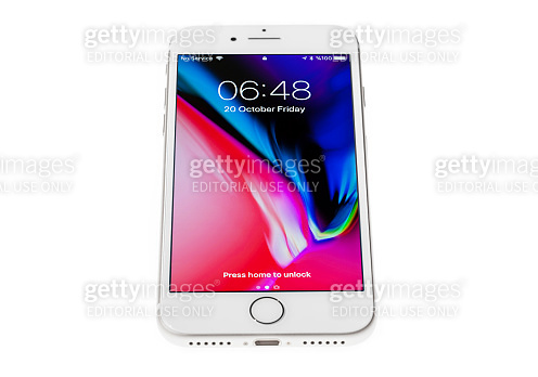 Brand new silver Apple iPhone 8 front side isolate on  white background with clipping path.