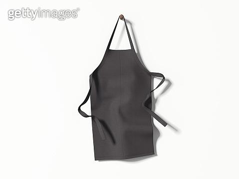 Black blank apron hanging. 3d rendering