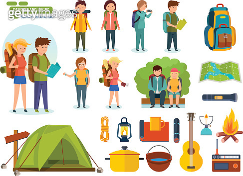 Set of camping equipment, backpackers, climbers, for active recreation, people