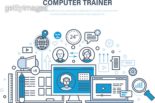Computer trainer. Personal trainer online. Distance learning, knowledge, teaching