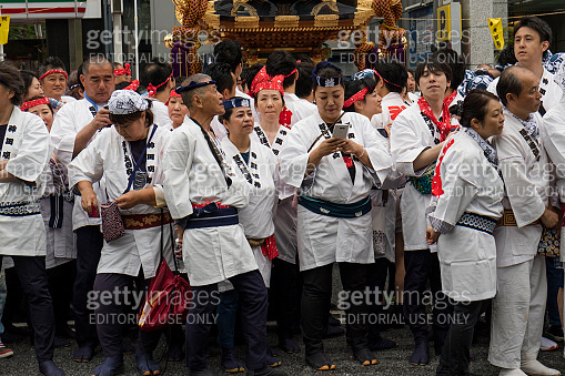 Tokyo, Japan -  Participants dressed in traditional kimono's at the Kanda Matsuri Festival