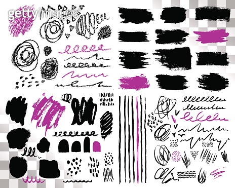 Vector Set of brush acrylic strokes. Black violet color on white background. Hand painted grange elements. Ink drawing. Dirty artistic design . Place for text, quote, information, company name.