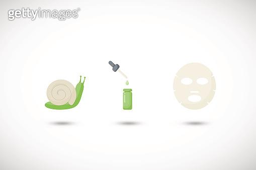 Snail mucus facial mask vector flat icons set