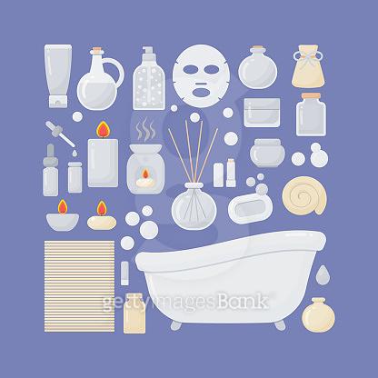 Bathroom vector flat icons set