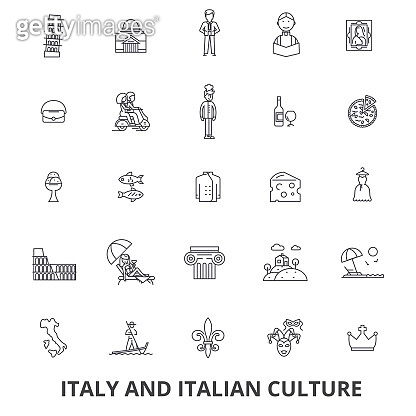 Italy, rome, italy map, italy flag, italian, pizza, gondola, cheese, carnival line icons. Editable strokes. Flat design vector illustration symbol concept. Linear signs isolated