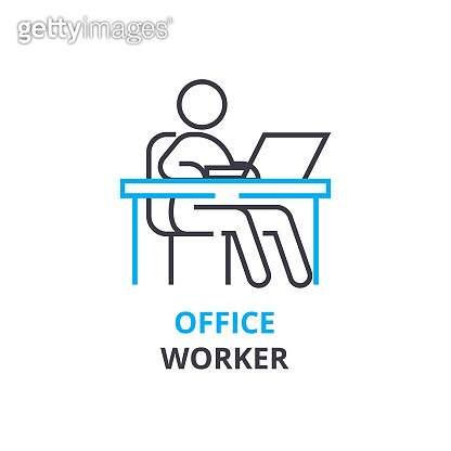 Office worker concept , outline icon, linear sign, thin line pictogram, , flat vector, illustration