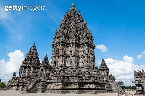 Prambanan temple is an hindu temple compound with sunny and cloudy day