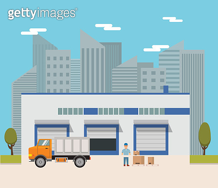 Vector  warehouse building flat trucks and the road.design elements for infographic,engineering and warehouse firms, companies on cargo delivery.