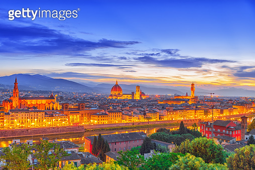 Beautiful landscape above, panorama on historical view of the Florence from  Piazzale Michelangelo point. Night time.