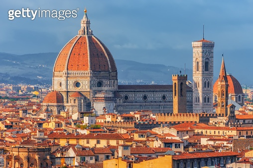 Beautiful landscape above, panorama on historical view of the Florence from  Piazzale Michelangelo point.