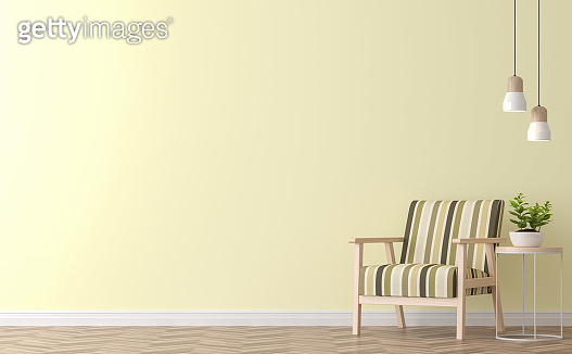 Modern vintage living room with yellow wall 3d rendering image