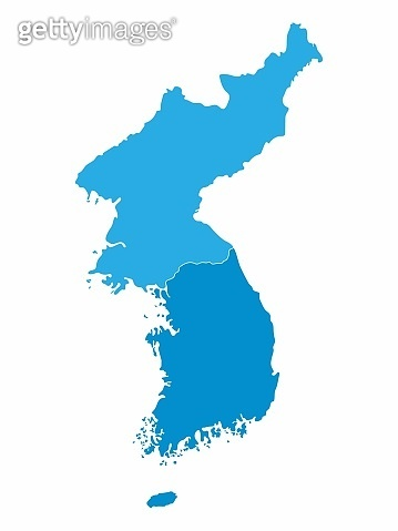 North and South Korea map on blue background, Vector Illustration