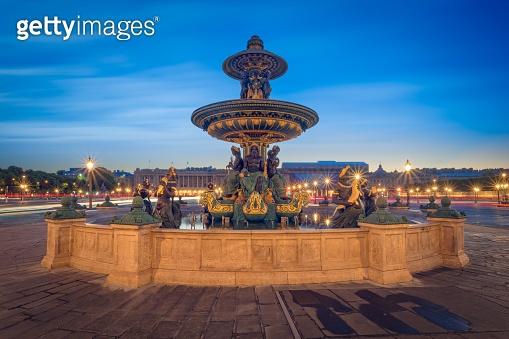 Paris, Place de la Concorde during the blue hour
