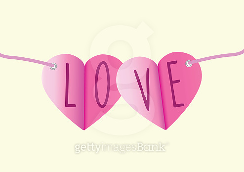Love message in paper bunting as a vector illustration