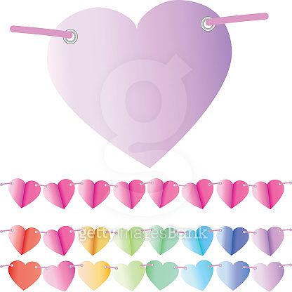 paper heart shaped bunting or banner