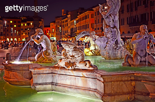 View of the Fountain of the Moor (Fontana del Moro)