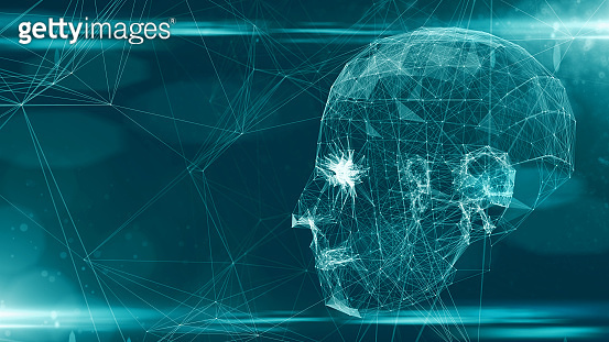 AI Artificial intelligence digital robotic brain deep learning computer machine