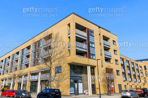 Low angle of a new housing apartment in East London