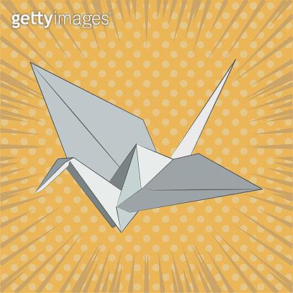 Origami crane vector illustration on retro background