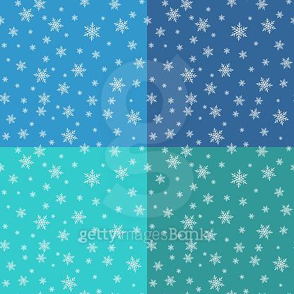 Seamless pattern set with snowflake design