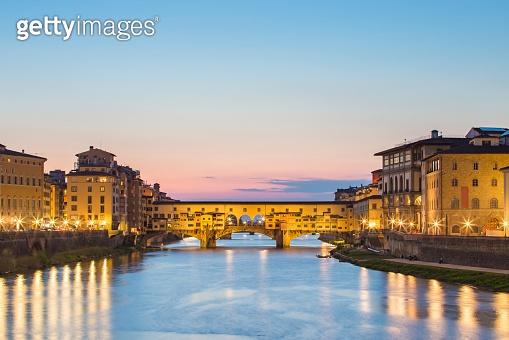 Ponte Vecchio bridge at night in Florence, Tuscany, Italy