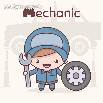 Cute chibi kawaii characters. Alphabet professions. The Letter M - Mechanic.