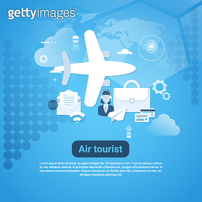 Air Tourist Web Banner With Copy Space On Blue Background Tourism Concept