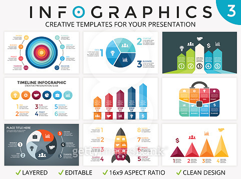 Vector circle arrows infographic set, cycle diagrams, start up graph