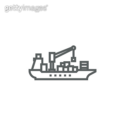 Cargo container ship line icon