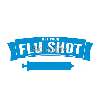 Flu Shot Vaccination Badge or Icon