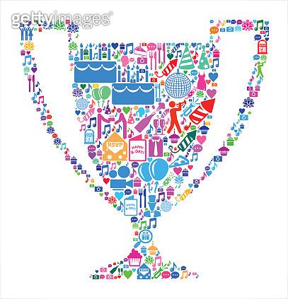 Trophy Birthday Celebration Vector Icon Pattern