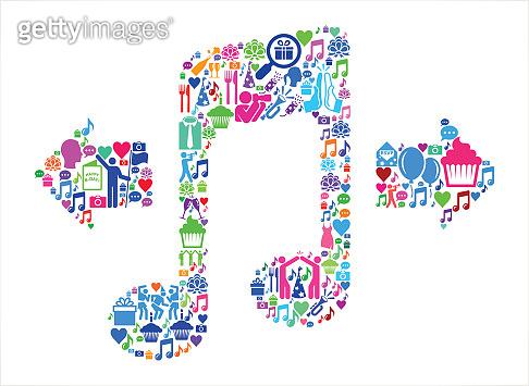 Music Birthday Celebration Vector Icon Pattern