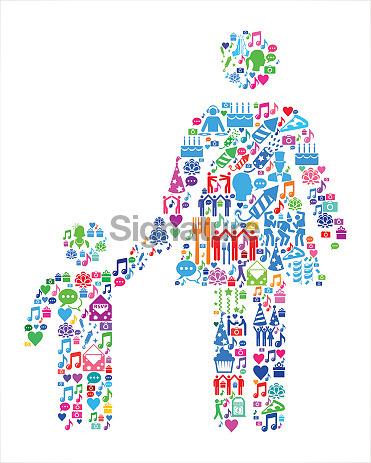 Mother & Boy Family Birthday Celebration Vector Icon Pattern