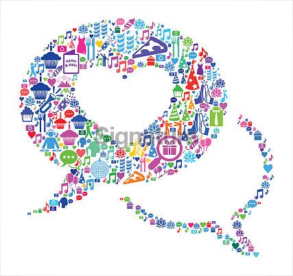 Love Communication  Birthday Celebration Vector Icon Pattern