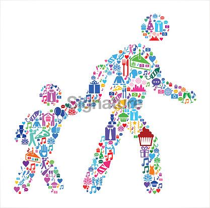 Parent Walking Child to School Birthday Celebration Vector Icon Pattern